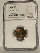 Ngc Ms-65 Bn 1889 Indian Head Cent, Lustrous Gem W/ Nice Peripheral Red.