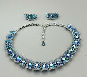 Vintage 1940's Blue Rhinstone Neaklace And Clip On Earrings Costume Jewelry