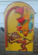 Vintage Made In Germany Tin Monkey And Parrot Bank