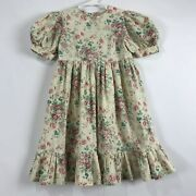 Vintage Cottage Core Handmade Dress Girls Floral Ruffle Ankle Length