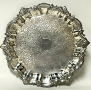 Antique Goldfeder Electro Plate Silver Metal Footed Serving Tray