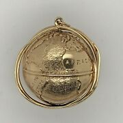 Vintage 14k Yellow Gold Large 1 3/16andrdquo Spinning World Charm Pendant 34.2 Grams