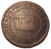 Old Canadian Coins 1815 Miles W. White Half Penny Token Halifax Breton 890