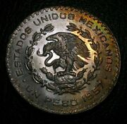 Old Silver Coins 1957 Mexico Un Peso Toned Beauty