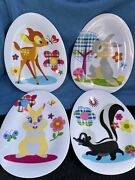 Disney Store Collector Bambi And Friends Egg Shaped Easter Plates - Set Of 4