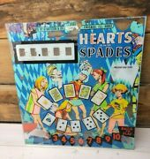 Vintage Pinball Machine Back Glass Hearts And Spades 1960's Women Cards Gaming