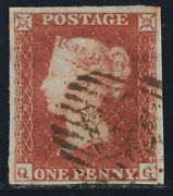 1852 Penny Red Spec B2 Plate 149 Qg Fine Used 4 Margins