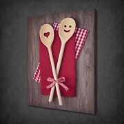 Funky Wooden Cooking Spoons Kitchen Canvas Wall Art Print Picture Ready To Hang