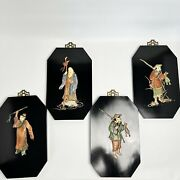 4 Piece Vintage Asian Shibayama Lacquer 3d Wall Plaques