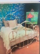Perfect Vintage/country Look Queen Brass/enamel Porcelain Bed Frame + Mattress