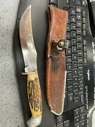 Case Xx Fixed Blade Knife, Stag Handle W/ Sheath Vintage