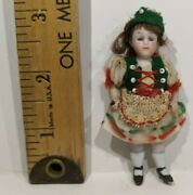 Antique German Bisque Porcelain Miniature Jointed Doll With 3 Inch Markings