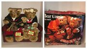 Vintage 90s Gemmy Bear Couple On Couch Animated Christmas Music Arms Move Gifts