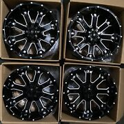 Used 20x10 D8 Fit Lifted Chevy 8x165.18x6.5 -24 Black Milled Wheels Set4