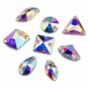 Crystal Ab Golden Base Sew On Rhinestone Beads Stones Spacer Buttons For Garment