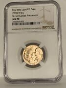 2018-w Breast Cancer Awareness Pink Rose Gold 5 Ngc Ms 70