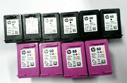 Lot Of 10 Empty Hp 60 Used Printer Cartridges 4 Tri-color Ink And 6 Black Ink