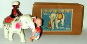 Henry On White Elephant Circus Henry Celluloid Wind-up Toy In Orig. Box Japan