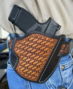 Leather Pancake Holster Springfield Hellcat 9mm Ruff's Black And Tan