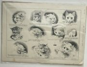 Vintage 1889 Print - Louis Wain A Tyro Scientist At The Cat Show - Cute Cats