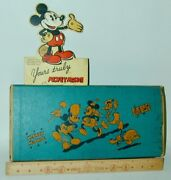 Lot Of 3 Mickey Mouse Dixon Pencil Box + Wood Ruler + Advertising Card 1930s
