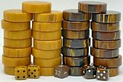 Vintage Bakelite Game Pieces Backgammon Checkers Swirl Brown And Butterscotch