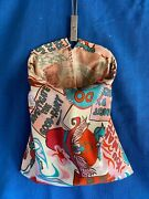 Vintage 1960s Mod Psychedelic Cartoon Protester Hippie Laundry Clothes Pin Bag