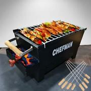 Medium Charcoal Grill Barbeque With 8 Skewers,barbeque Grill For Outdoor Picnic