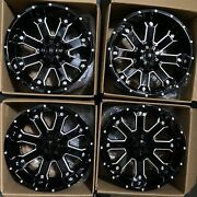 Used 20x12 D8 Fit Lifted Chevy Ford 6x135/6x139.76x5.5 -44 Black Milled Wheels