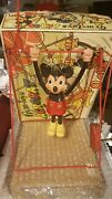 Mickey Mouse Trapeze Acrobat Hard Plastic And Celluloid Wide-up Toy. Works Neat