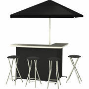 Best Of Times Black Deluxe Portable Bar Set, Model 4684 - 4 Stools And Umbrella