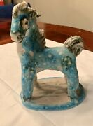 Guido Gambone Blue Horse Pony Sculpture Pottery Signed Mcm