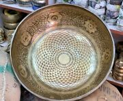24 Inch Flower Of Life Geometry Carved Singing Bowl - Standing Bowls - Healing