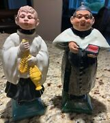 Antique Portuguese Nodders Bobbleheads Priest And Altar Boy.