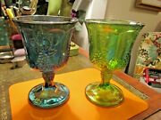 8 Vintage Indiana Carnival Glass Iridescent Blue And Green Harvest Grape Goblets