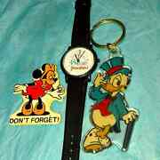 Vintage 35 Years Of Disneyland Watch, Donald Duck Keychain, Minnie Mouse Magnet