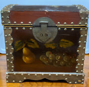 Painted Floral Fruit Wood Dome Trunk Chest Vintage Studded Box See Description