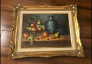 Antique Frank Lean Original Canvas Oil Painting With Gold Frame With Certificate