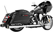 Performance American Outlaw Dual Exhaust System - Chrome Body With Black Hd00281