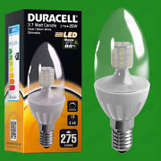 10x 3.7w Dimmable Duracell Led Clear Candle Instant On Light Bulb Ses E14 Lamp