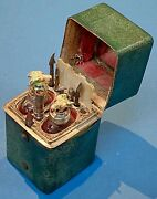 Antique Manicure Toilet Set Bird Bottle Stoppers Fitted Case Tools Potion Glass
