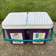 Teal And Purple Rubbermaid Cold N Dry Cooler 2 In 1 Ice Chest 9 Gallon Usa