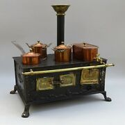 Antique Miniature Tinplate Stove With Copper Saucepans And Pots Toy / Dolls Oven