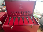 Waterford Complete Set 12 Days Of Christmas Champagne Flutes With Chest And More