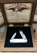 Schatt And Morgan Usa Mother Of Pearl Baby Sun Fish Knife W/wooden Display Case