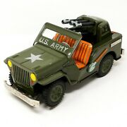 1950's Tin U.s. Army Jeep With Guns Friction Toy Made In Japan