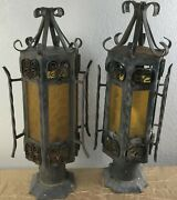 Pair Vintage Spanish Revival Gothic Iron Amber Glass Outdoor Post Lamp Light K
