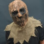 Scarecrow Halloween Costume Mask Latex And Burlap Realistic Scary Scare Crow Mask