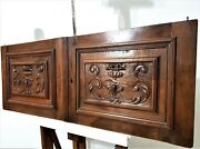 Pair Scroll Leaves Wood Carving Cabinet Door Antique French Salvaged Furniture