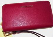 Large Multifunction Tech Cherry Red Leather Wallet Wristlet
